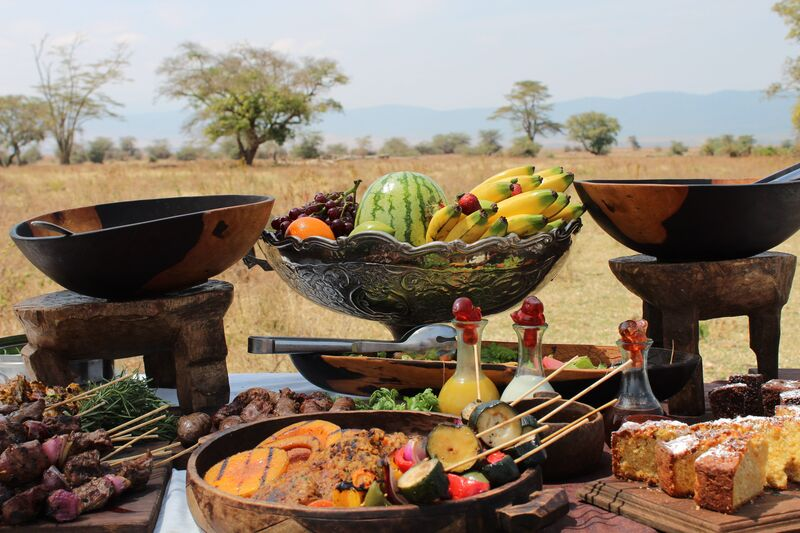 Sumptuous lunch in the bush on safari in Tanzania Africa